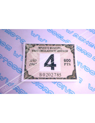 Road Tax Sticker 1967