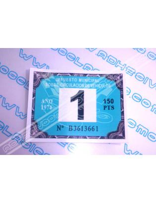 Road Tax Sticker 1974