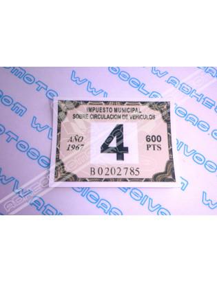 Adhesivo Impuesto de Circ. 1967