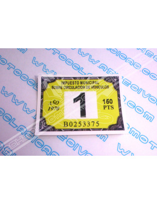 Road Tax Sticker 1970