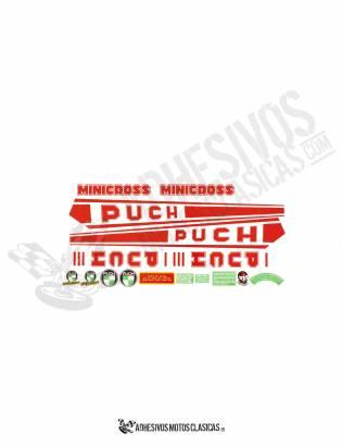 Juego de Adhesivos PUCH Minicross III Rojos