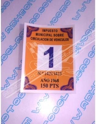Road Tax Sticker 1968