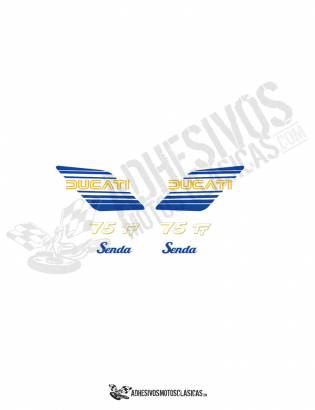 DUCATI Senda 75 TT blue/yellow Stickers kit