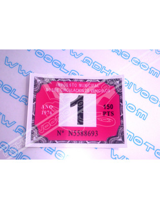 Road Tax Sticker 1976